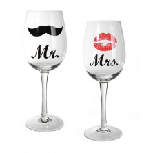 "Veiniklaaside komplekt ""Mr. & Mrs."""