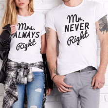 "T-särkide komplekt ""Mr NEVER Right & Mrs ALWAYS Right"""